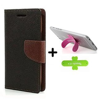Wallet Flip Cover for Oppo F1s  ( BROWN ) With One Touch Mobile Stand