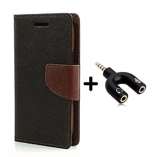 Wallet Flip Cover for Reliance Lyf Earth 1  ( BROWN ) With 3.5mm Stereo Male to Mic Audio Splitter