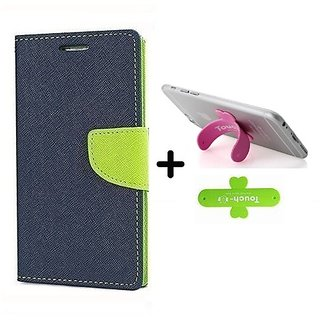 Wallet Flip Cover for Reliance Lyf Flame 3  ( BLUE ) With One Touch Mobile Stand