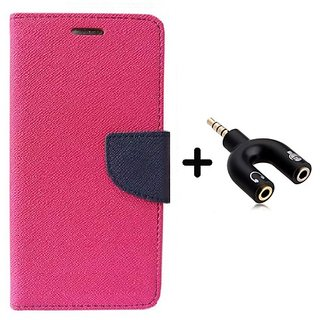 Wallet Flip Cover for Reliance Lyf Flame 3  ( PINK ) With 3.5mm Stereo Male to Mic Audio Splitter
