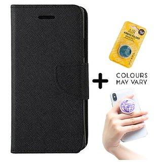 Wallet Flip Cover for HTC Desire 728 _x000D_  ( BLACK ) With Grip Pop Holder for Smartphones