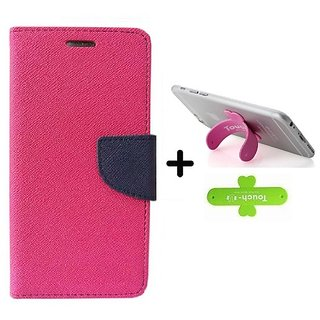 Wallet Flip Cover for Reliance Lyf Flame 4  ( PINK ) With One Touch Mobile Stand