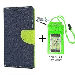 Wallet Flip Cover for HTC One E8  ( BLUE ) With Underwater Pouch Phone Case