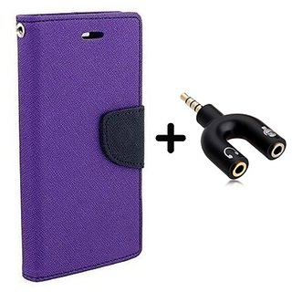 Wallet Flip Cover for Reliance Lyf Wind 5  ( PURPLE ) With 3.5mm Stereo Male to Mic Audio Splitter