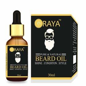 ORAYA 100 Natural Organic Beard Oil for Nourishment, Shine Healthy Beard 30ml