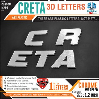 Creta 3D Letters for Hyundai Creta  Chrome Finish - Creta Accessories 3D Stickers 3D Logo Emblem