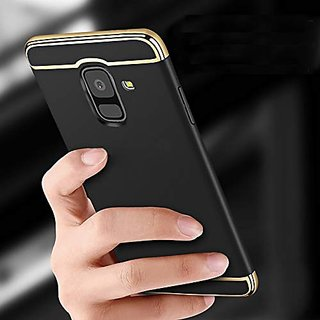 BRAND FUSON Samsung J6 2018 Hard PC Shell Electroplate Matte 3 in 1 Anti Scratch Proof 360 Degree Back Cover (Black)