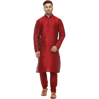 Hangup Men's Red Kurta & Pyjama Sets