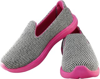 Scolars Women Sports Shoes for Running / Walking (Ultra Lightweight Sole ) Running Shoes For Women (Grey/Pink)