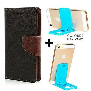 Mercury Wallet Case For  IPhone 5  ( BROWN ) With Mobile Stand
