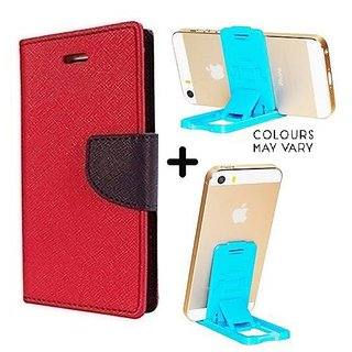 Mercury Wallet Case For Reliance Lyf Earth 1  ( RED ) With Mobile Stand