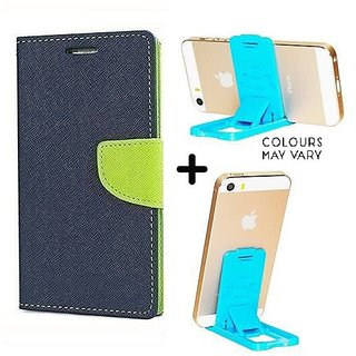 Mercury Wallet Case For Reliance Lyf Flame 1  ( BLUE ) With Mobile Stand