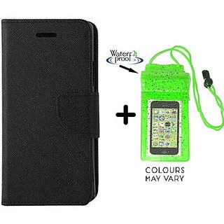 Mercury Wallet Case For Reliance Lyf Flame 2  ( BLACK ) With Underwater Pouch Phone Case