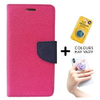 Mercury Wallet Case For Reliance Lyf Flame 3  ( PINK ) With Grip Pop Holder for Smartphones