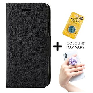 Mercury Wallet Case For Reliance Lyf Flame 4  ( BLACK ) With Grip Pop Holder for Smartphones