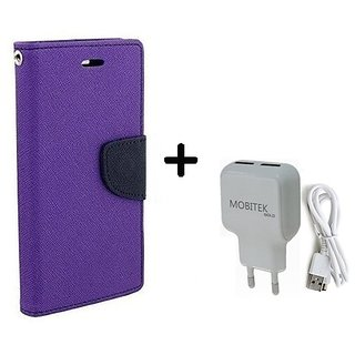 Goospery Fancy Diary Flip Cover for  Micromax Bolt D320  ( PURPLE ) With Fast Charger 2.4 AMP Safe Charger