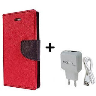 Goospery Fancy Diary Flip Cover for  Micromax Bolt D320  ( RED ) With Fast Charger 2.4 AMP Safe Charger