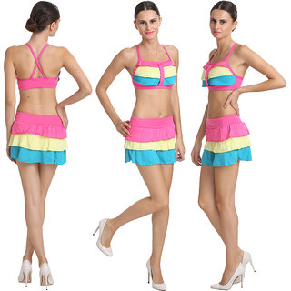 Good-Looking Multi Colored Salient Haltered Neck Skirted Bikini Set