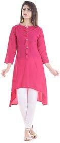 Awrin Women's Pink Rayon Solid Casual Kurti(AW-KT01, Pink , Meduim)