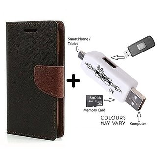 New Mercury Flip Cover for Micromax Canvas Spark Q380  ( BROWN ) With Card Reader kit to Attach Pendrive & Card Reader