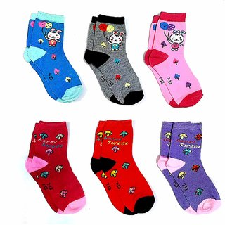 Baby Multicolor Pure Cotton Socks (0 - 1 YEAR )- 6 Pairs