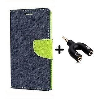 New Mercury Flip Cover for Sony Xperia M2 Dual  ( BLUE ) With 3.5mm Stereo Male to Mic Audio Splitter