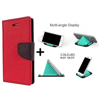 New Mercury Flip Cover for Redmi NOTE 4G ( RED ) With Multi-Angle Pyramids Shape Phone Holder