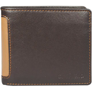 Men's Genuine Leather Bifold Wallet-Multiple Card Slots ID Window with Coin Pocket- Leather Wallet by Calfnero