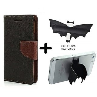 Mercury Wallet Case For Micromax Canvas Pep Q371  ( BROWN ) With Batman Design One tocuh silicon stand