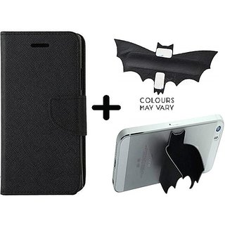 Mercury Wallet Case For Micromax Canvas Spark 2 Q334  ( BLACK ) With Batman Design One tocuh silicon stand