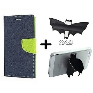 Mercury Wallet Case For Micromax Canvas Spark Q380  ( BLUE ) With Batman Design One tocuh silicon stand
