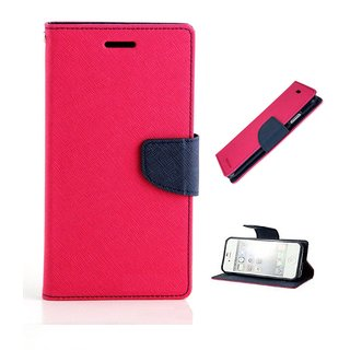Mercury Wallet Style Flip Cover Case For Micromax Canvas Spark 2 Q334  ( PINK )