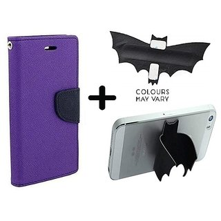 Mercury Wallet Case For Micromax Canvas Xpress 2 E313  ( PURPLE ) With Batman Design One tocuh silicon stand