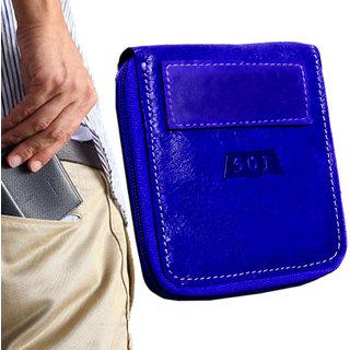 Men's Pure Leather Blue Stylish Bi-fold Ultra Slim Wallet Credit Card Holder Coin Holder Money Bag Purse Ultra Slim Size