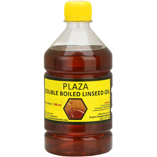 PLAZA - Double Boiled Linseed Oil - 500 ml Pack used for Wood Finishing, On Walls before applying paint, mixing in putty, bare wooden furniture, outside wooden furniture, Cricket bats, hockey, guitar, flutes, Etc..