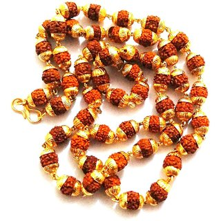 Shopecruze 5 Face Rudraksha Mala With Golden Cap 5 Mukhi Mala in Golden Cap Jaap Mala