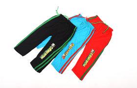 ISHU Kids Cotton  Multicolor Rib Track Pant (Pack of 3)