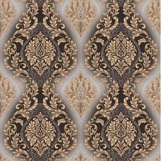 Style UR Home-3D Floral Damask Black, Grey  Gold  Wallpaper - 57 Sqft
