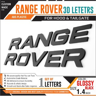 Carmetics Range Rover 3d Letters stickers logo emblem for Maruti Suzuki Swift Dizire car accessories stickers decals graphics styling accessories - Glossy Black