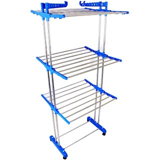 DOLPHIN Made In India Life Time Use 3 Tier Mild Steel Floor Cloth Dryer Stand Racks Hanger (Blue)