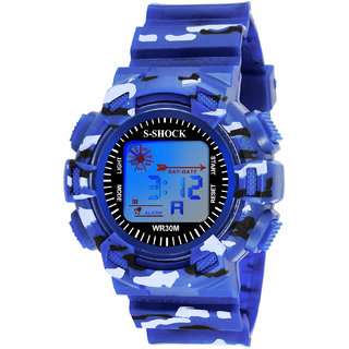 Grandson Blue Miltary Digital Watch For Boys And Girls
