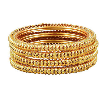 Chrishan High Gold Plated Women/Girls Love To Wear Designer Alloy Four Bangle Set.