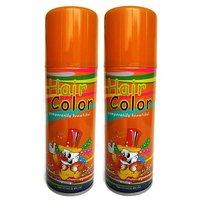 Temporary Hair Color Spray - Pack of 2 Bottles - Orange Shade - 125ml each
