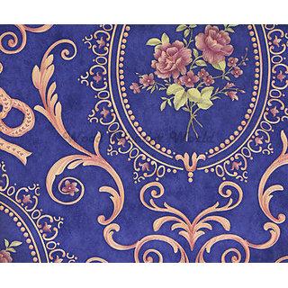 Buy Elegant Floral Frame Wallpaper Royal Blue and Rose Gold Online @ ₹2700 from ShopClues