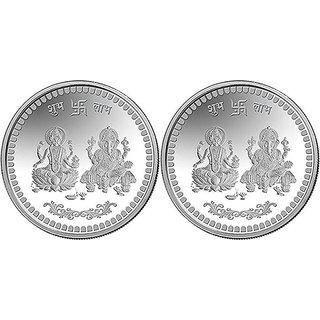 HATHOT 999 BIS Hallmarked Pure Silver Lakshmi Ganesh Ji Coins COMBO OF 2 ( 10 Gm Each)