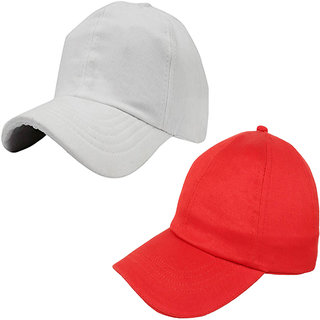 f809abb3 40%off Sunshopping mens solid white and red pure cotton baseball cap (pack  of two)