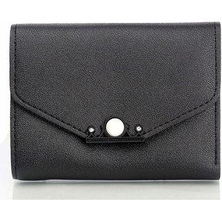 Mammon Women's PU Money Wallet (3366-Black)