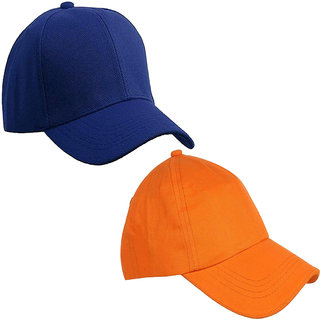 d32cfcfdd20ddc 40%off Sunshopping mens solid royal blue and orange pure cotton baseball cap  (pack of two)