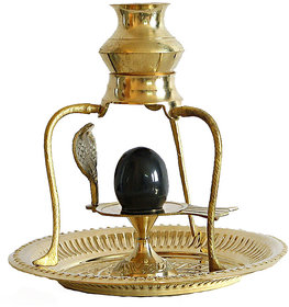 Haridwar Astro Brass Shivling with Sheshnag and Black Stone Ling 4 inchs