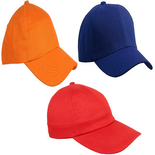329a6ac0faee73 33%off Sunshopping mens solid orange royal blue and red pure cotton  baseball cap (pack of three